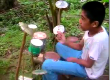 12 Yr. Old Leyte Drummer Covers Slapshock's Carino Brutal Using Only Tin Cans & Sticks