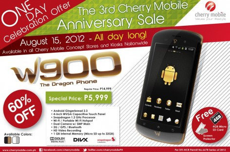 "Cherry Mobile Anniversary Sale! Only PHP 6k On The W900–1.2Ghz / 4.0"" Screen Android"