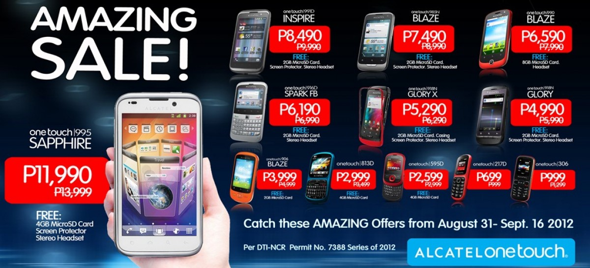 Grab A New Android Phone At The Alcatel Amazing Sale–Ongoing Until Sept 16, 2012.