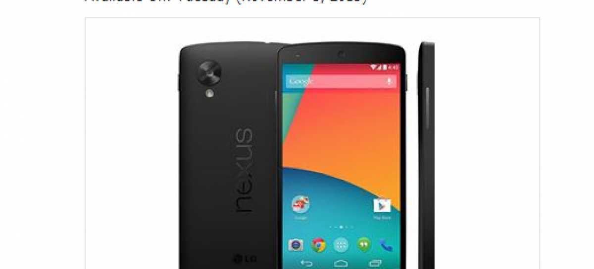 DBGadgets Nexus 5 For Sale Ahead Of Actual Google Announcement; 16GB For PHP 24.6k