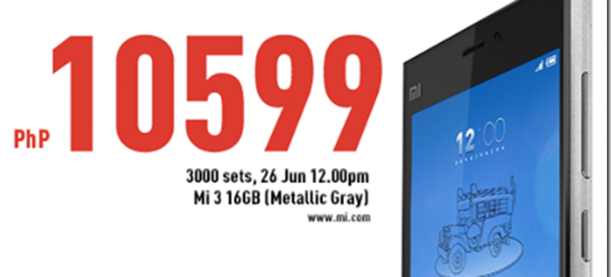 Flagship Spec'd Xiaomi Mi3 Will Be Available On Lazada Tomorrow For Only PHP 10,599!