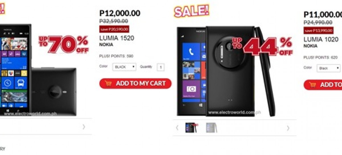 Electroworld Brings Back Epic Nokia Lumia Sale–P11,000 For 1020 & P12,000 For 1520!